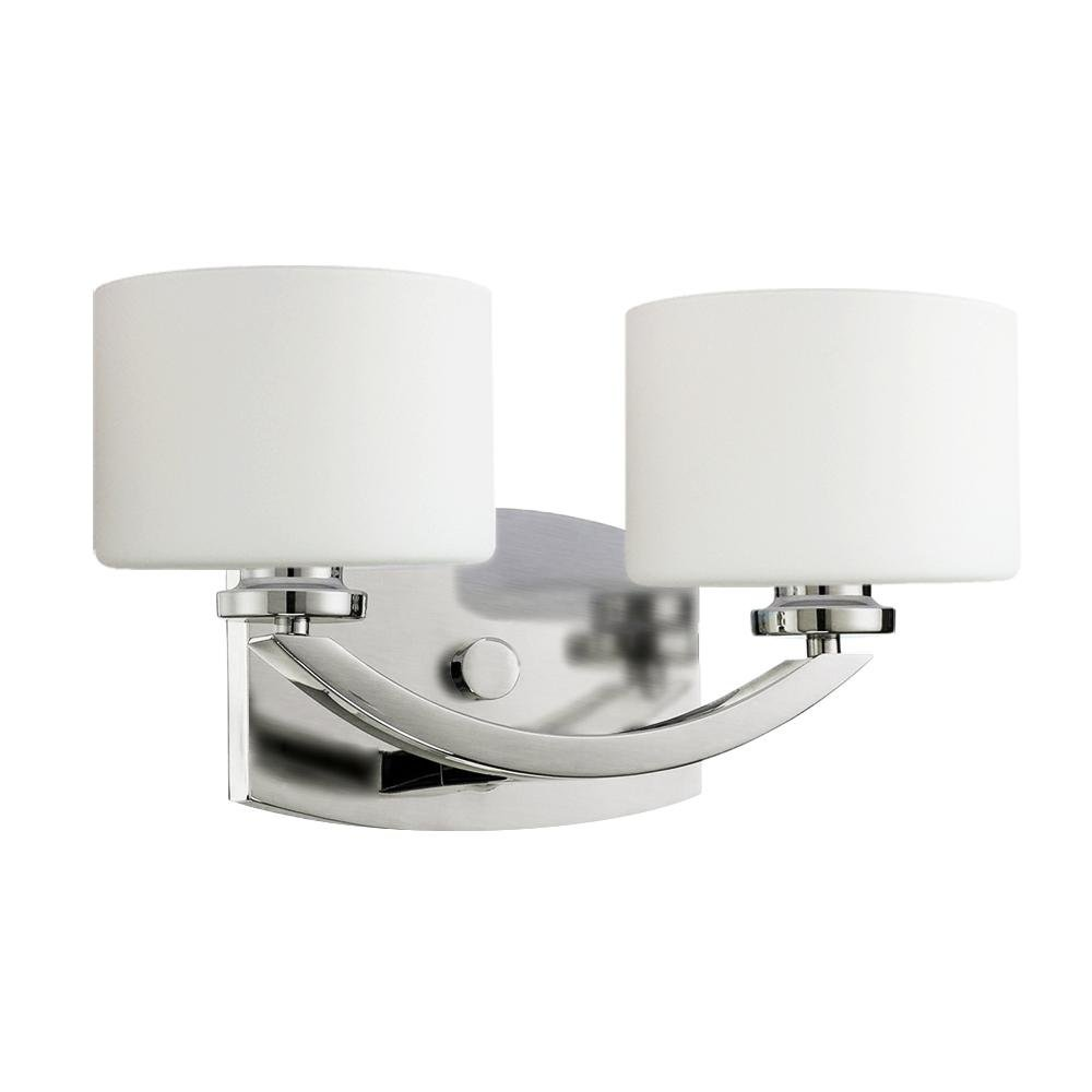 Com Langdon Mills Regent 2 Light Brushed Nickel Bathroom Vanity Fixture Opal Glass Shades Halogen Bulbs Home Improvement