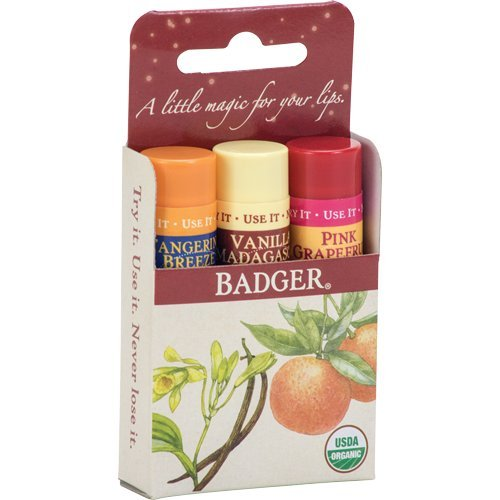 Badger Lip Balm (Badger - Classic Lip Balm Holiday Gift 3-Pack - Red Box)