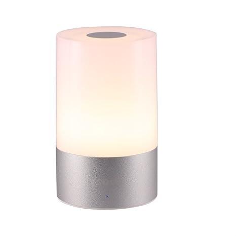 Lámpara de Mesa Luz Nocturna Control Táctil RGB Color Recargable, lámpara para Ambiente (Blanco, MY-01)