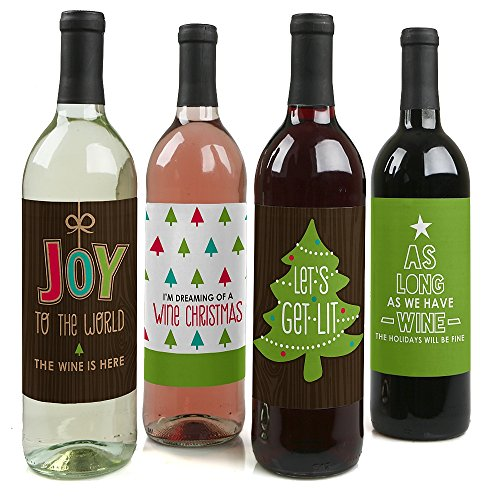 Big Dot of Happiness Rustic Joy - Holiday and Christmas Party Decorations for Women and Men - Wine Bottle Label Stickers - Set of 4