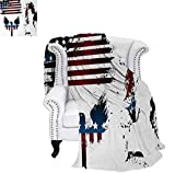 Digital Printing Blanket Set with Bald Eagle Symbol and Stripes Stars Statue of Liberty Grunge Retro Summer Quilt Comforter 60'x36' Navy Maroon