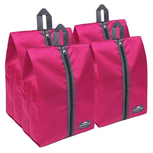 Portable Nylon Travel Shoe Storage Organizer Bag (8 Colors) with Zipper Closure (Pack 4, Dark Pink) ()