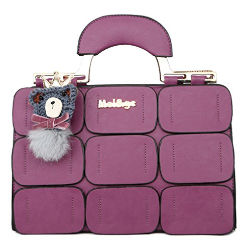 Purple Bag Leather Inclined Boston summer Shoulder Bag Suture New Women Women Bag Handbags New Spring q1WZnwx1AO
