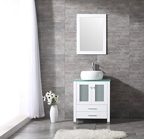 """Walcut 24"""" White MDF Wood Bathroom Vanity Cabinet With White Cylinder Vessel Sink-Without (Cylinder Vessel)"""