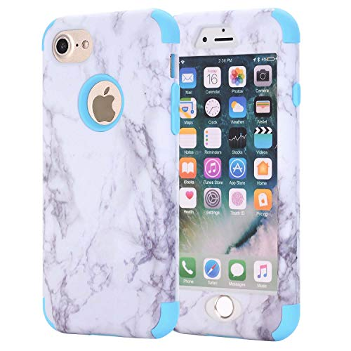 AOKER Marble Design] Slim Dual Layer Anti-Scratch ShockProof Clear Bumper Matte TPU Soft Rubber Silicone Protective Case for iPhone 6 Plus 6S Plus 5.5 inch (Blue) ()