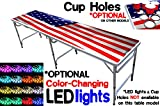8-Foot Beer Pong Table w/ Cup Holes, Custom Graphics & Optional Glow Lights - 20 Table Graphics to Choose From