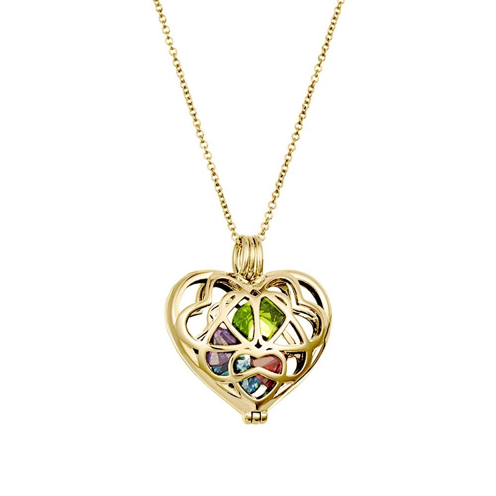 Gold Plated Personalized 6mm Round Simulated Birthstone Heart Caged Locket (16'' chain)