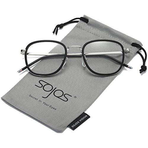 SojoS Square Clear Lens Eyewear Prescription Eyeglasses Frames for Men and Women SJ5017 With Matte Black Frame/Silver - Frames Vintage Sale Eyeglass For