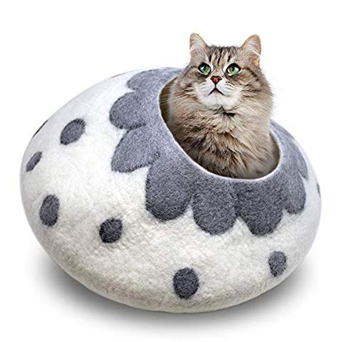 Juccini Handcrafted Felted Wool Cat Cave Bed for Cat and Kittens – Felted from 100% Natural Wool (White/Grey Flower, Medium)