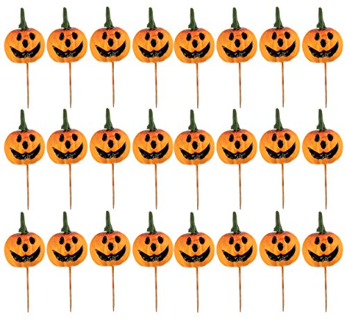 Cupcake Toppers - 24-Piece Halloween Themed Cocktail Picks Party Favors, Cake Decoration Supplies, Sandwich Holders, Jack-O-Lantern Pumpkin Toothpicks, Orange, 6.375 Inches -
