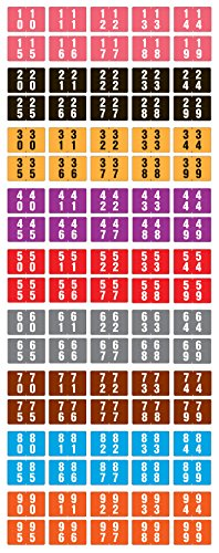 ACME COMPATIBLE AVD-SET Double Digit Permanent Color Code Label, Mylar, Numeric, ''00-99'', 1 1/2'' x 1'', Assorted Colors (Pack of 5000) by Westcott