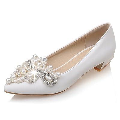 9c1c6f465fa8 Mofri Women s Elegant Beaded Rhinestone Pointed Toe Low Cut Slip on Block  Low Heel Slip on