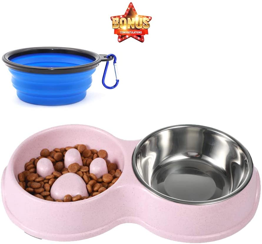 HXN Slow Feeder Dog Bowls with Non-Slip Bottom, Double Cat Dog Feeder Cat Bowl with Detachable Stainless Steel Bowl, Dog Food and Water Bowl for Small Medium Dog Cat, Collapsible Dog Bowls as a Gift