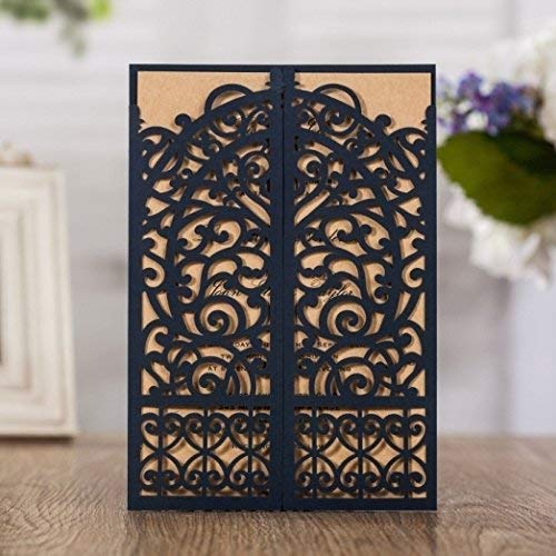 (WISHMADE 50 Blue Laser Cut Gate Fold Invites Kit for Wedding Engagement Graduation Birthday Party Housewarming Quincenera Paraboda, Printable Invitation with Envelops AW7075)