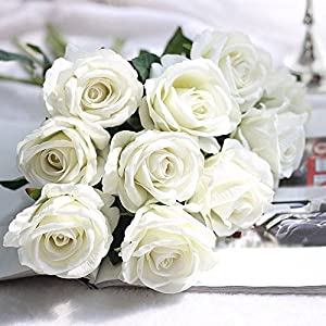 EOPER 6 Pack Artificial Fake Vintage Peony Silk Rose Flower Bush Bouquet for Home Kitchen Decor Wreath Wedding Centerpieces, Milky White 30