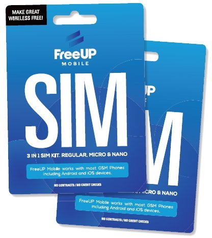 (FreeUP Mobile 3-in-1 SIM Card Starter Kit - Compatible with Unlocked GSM Cell Phone - Apple, Samsung, Motorola & More)