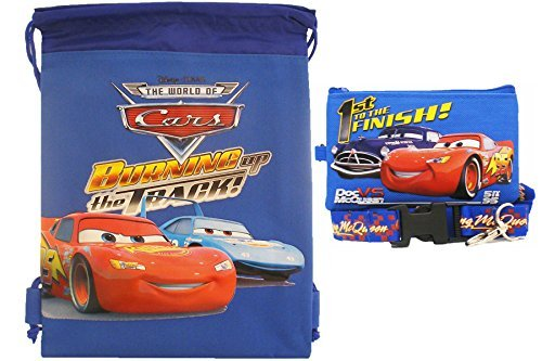 Cars Strings Disney (Disney Car Blue Drawstring Bag and Lanyard)