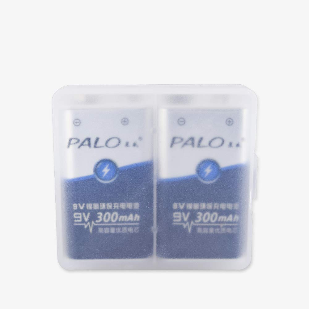 Palo 2-Pack 9V Ni-MH Baterías Recargables, baterías 300mAh PP3 6F22
