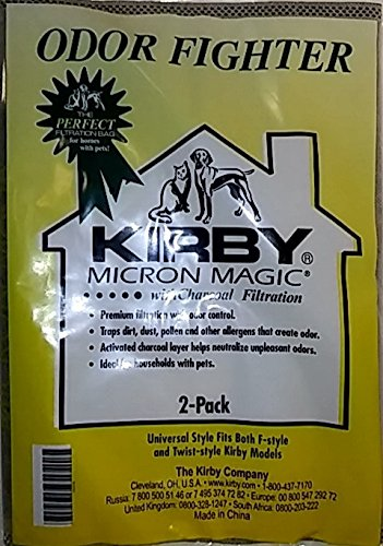 Kirby Avalir & Sentria Odor Fighter Charcoal Filtration Vacuum Bags 2-Pack OEM# 202816 (Bag Fighter)