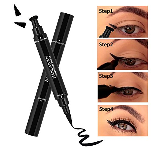 Eyeliner Stamp, KOBWA Waterproof, Smudgeproof, Winged Long Lasting Liquid Eye Liner Pen 2 double-sided Vamp Style Wing, No Dipping required, Black ()
