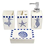 Nautical Theme White Ceramic 4-Piece Bathroom Accessory Complete Set with Blue Mosaic Sea Animals Pattern| Bathroom Organizer | Soap Dispenser, Toothbrush Holder, Tumbler, Soap Dish | Mediterranean