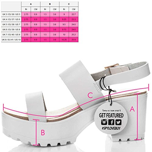 Sandalen Blockabsatz Kunstleder Pumps Plateau Weiß Damen SPYLOVEBUY Schuhe AXE Synthetik aqwIHzxP