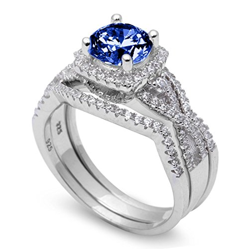 Three Piece Trio Set Wedding Ring Infinity Round Simulated Sapphire 925 Sterling Silver ()