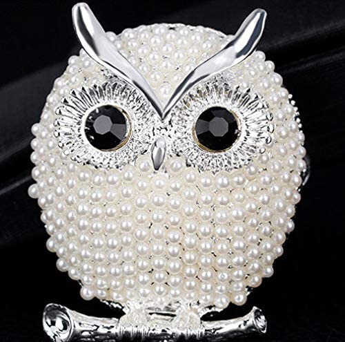 Cute Animal Simulated Pearl Scarf Clips Brooches Pins White Jounkal Owl Brooch Pin