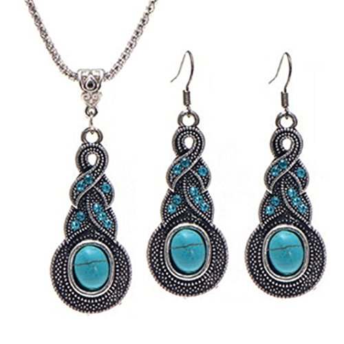 ULAKY Blue Crystal Inlaid Turquoise Gourd Pendant Necklace Earrings Set Ocean Fish Pendant Charm Necklace Jewelry