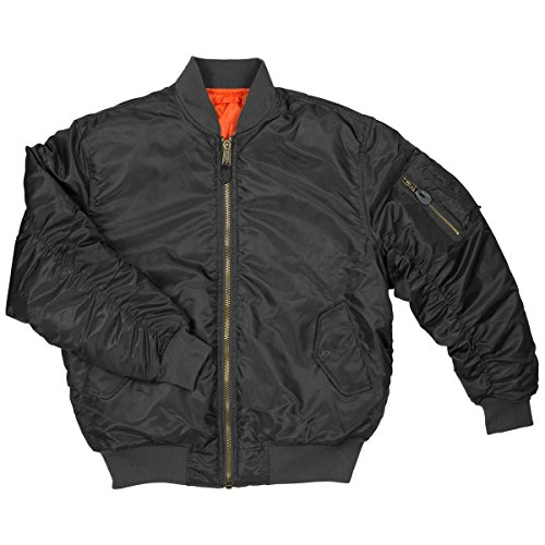 Men's MA-1 Spring Reversible Flight Bomber Pilot Jacket-MA6-Blk-Md (Flight Ma 1 Jacket Reversible)