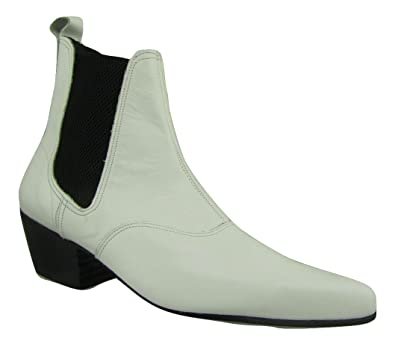 0cbf096223a5 Mens White Leather Chelsea Beatle Beat Retro Boots Cuban Heel Pointed Toe  (UK 9