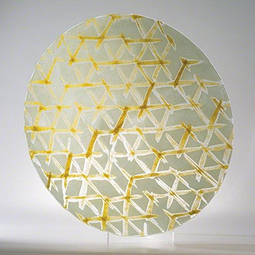 Japanese Shibori Pattern Art Glass Yellow Charger Plate | Platter Serving Large