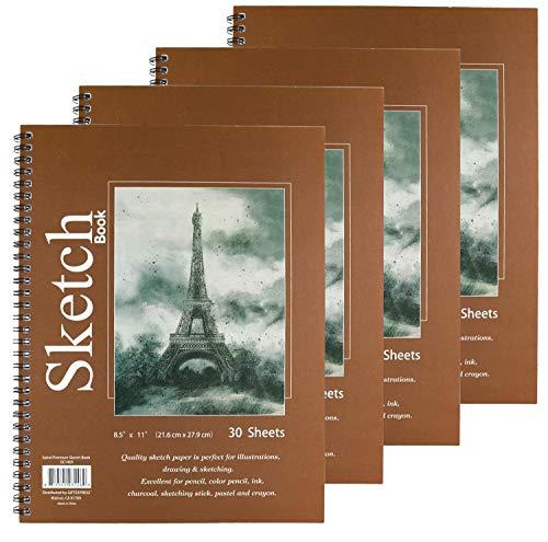 4 Cuadernos de dibujo bocetos GIFTEXPRESS 30 hojas c/u-21x28