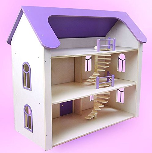 Once Upon A Treehouse Quality Hand Crafted in Germany Solid Maple Lavender Three Story Wood Dollhouse Manor