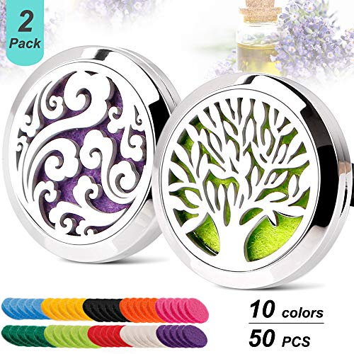 2PCS Car Aromatherapy Essential Oil Diffuser Car Air Freshener Stainless Steel Magnetic Closure Locket Tree of Life & Cloud with 50 Refill Pads