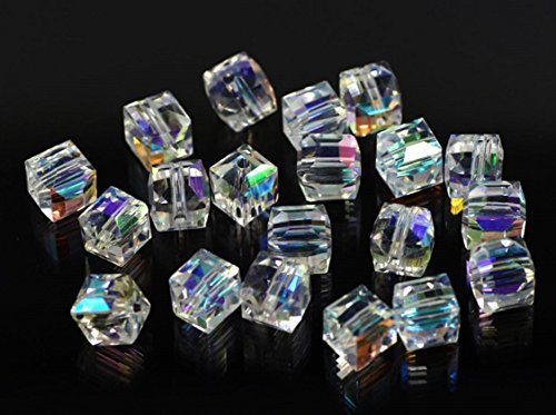 s Crystal Square Cube Beads Findings Jewelry Making DIY (4mm) ()