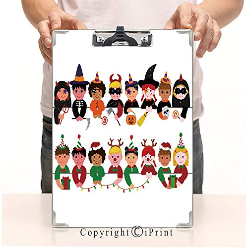 Paperboard Profile Clip A4 Standard Size Clipboards CartoonPrint Clipboards Office Folders,Cute Boys and Girls Border Set with Halloween Costumes and with Christmas Costumes -
