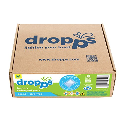 Dropps HE Sensitive Skin Laundry Detergent Pacs, Scent + Dye Free, 160 (Scent Dye)
