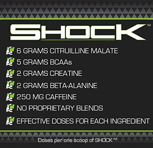 SHOCK - Fitness Training Pre-Workout Supplement for Men and Women - 6g Citrulline Malate, 5g BCAAs, 2g Creatine, 2g Beta-Alanine - Sour Apple Splash, 30 Servings
