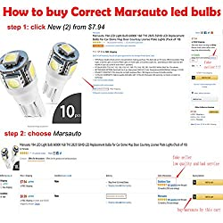 Marsauto 194 LED Light Bulb 6000K 168 T10 2825 5SM
