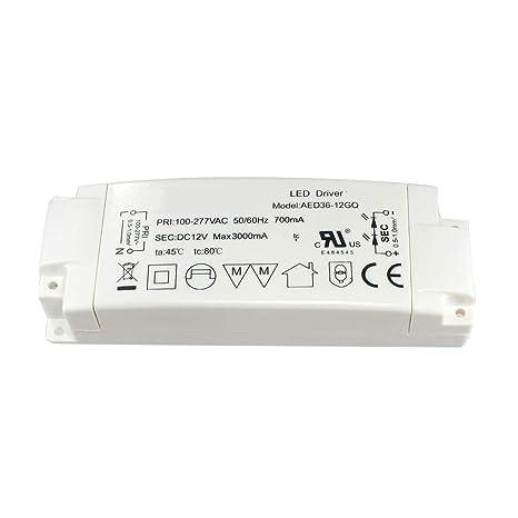Aiwode LED Transformador 36W Conductor para MR16 GU5.3 MR11 Bombillas LED, Convertidor de AC240V a DC12V LED,1 paquete.