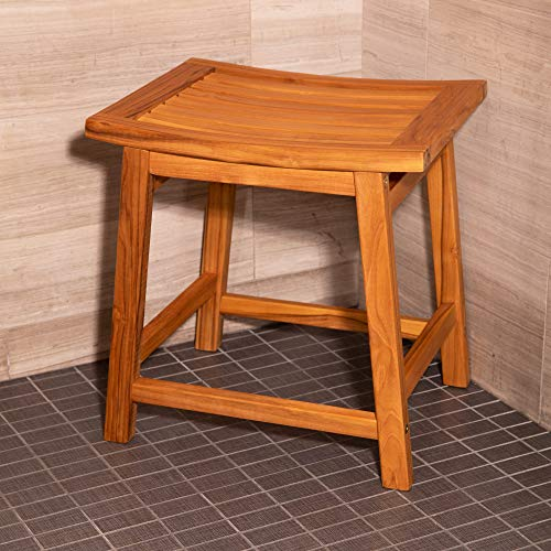 Thirteen Chefs 18 Inch Wooden Saddle Seat Shower Stool, Backless Low Satori Style