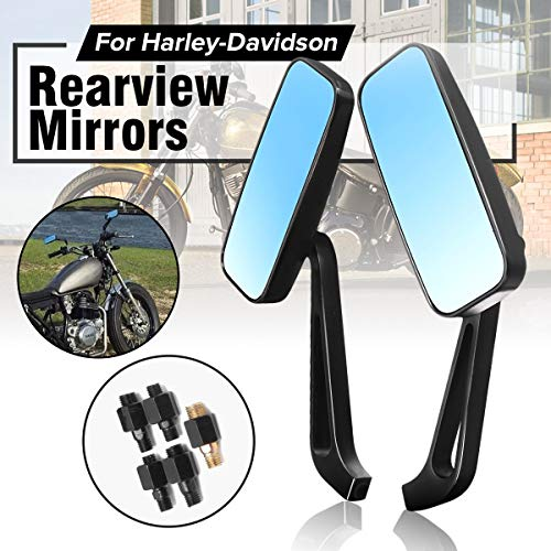 (Gift-4Car - Pair Black Short Stem Rearview Mirrors For Harley-Davidson Dyna Electra Glide Iron 883/Fatboy Road Glide Sportster)