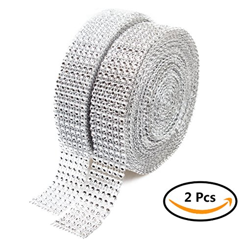Diamond Mesh Rhinestone Ribbon, ABUFF 2 Rolls 6 Row 10 Yard Acrylic Silver Diamond Crystal Ribbon Wrap Bulk. Perfect for DIY Crafts, Blings, Birthday, Vase Decor, Bridal Shower, Wedding Bouquet
