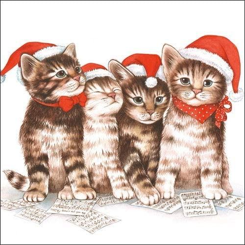4 Individual Napkins for Craft /& Napkin Art. 33 x 33cm Singing Cats - 3-ply 4 Paper Napkins for Decoupage
