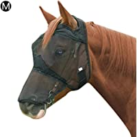 Black Face Mask Full Face Horse Mask Anti-Mosquito Horse Mesh Mask with Nose Cover Equestrian Available Itch Guard, Horse Fly Mask-Black M/L