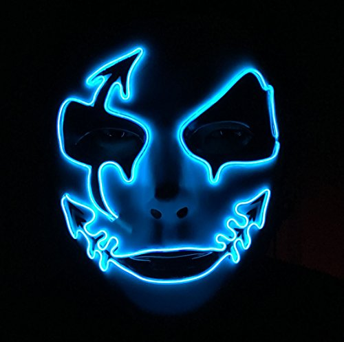 Halloween Rave Costumes Guys (DevilFace Melbourne Shuffle Halloween EL Wire Light Up Mask Masquerades LED Mask, One Size (Blue))