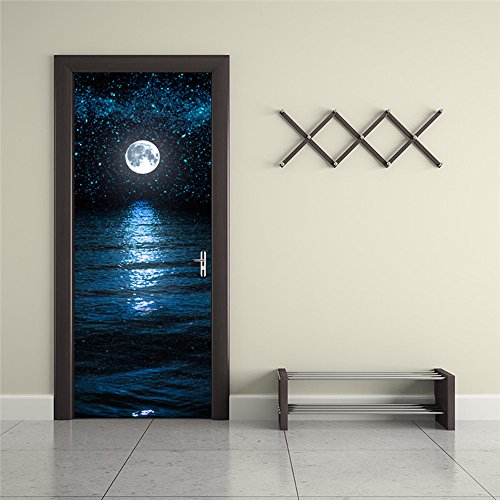 Nalichy 3d Door Wall Stickers Murals Decal, Full Moon above the Ocean with Night Sky View Self-adhesive Waterproof Wallpaper Home Decor by Nalichy