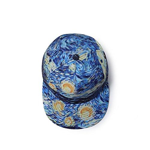 Color Azul Gorra Mujeres algodón Van Estrellada para Noche chulacon Parte Cierre Posterior y béisbol Visera Ajustable Gogh de La en Niños Hombre Estampada de Nutido la HTdqwRxFq