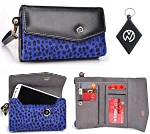 Alcatel OT-978 Black | Navy Blue Leopard Wristlet Wallet Phone Cover + NuVur +153; Keychain (ESMLMKB1)